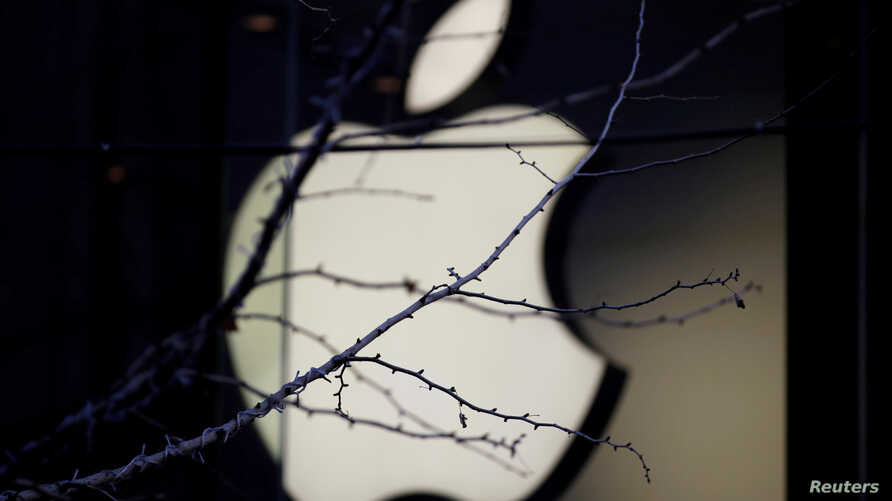 FILE - An Apple company logo is seen behind tree branches outside an Apple store in Beijing, Dec. 14, 2018.