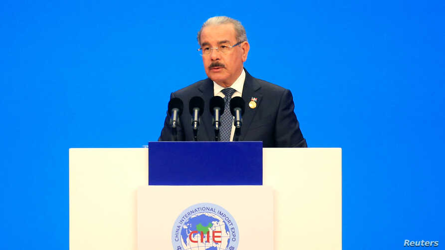 Dominican Republic President Danilo Medina speaks at the opening ceremony for the first China International Import Expo (CIIE) in Shanghai, China, Nov. 5, 2018.