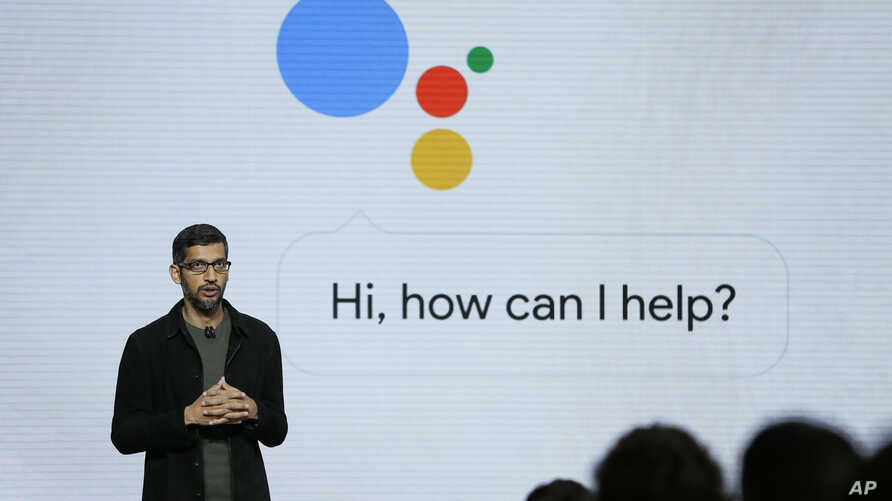 FILE - Google CEO Sundar Pichai talks about Google Assistant during a product event in San Francisco, Oct. 4, 2016. Google is likely to again put artificial intelligence in the spotlight at its annual developers conference on May 10, 2018.