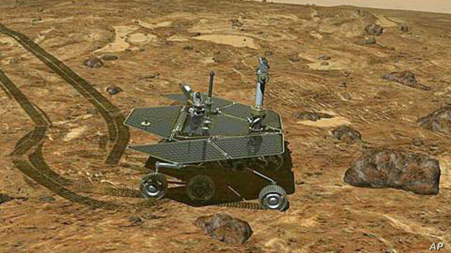 This artist's rendering provided by NASA shows a replica of the Mars Rover, Opportunity, on the surface of Mars.