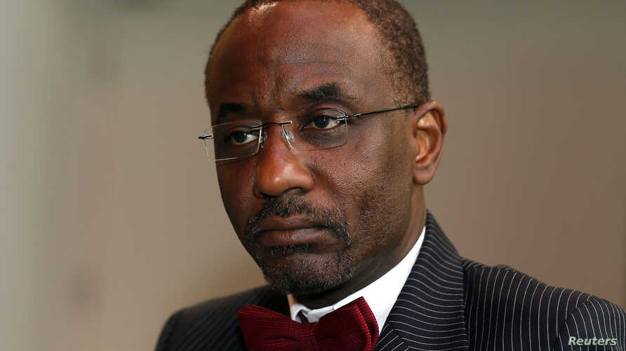 FILE - Nigeria's central bank governor Sanusi Lamido Sanusi attends an interview with Reuters at the World Islamic Economic Forum in London.