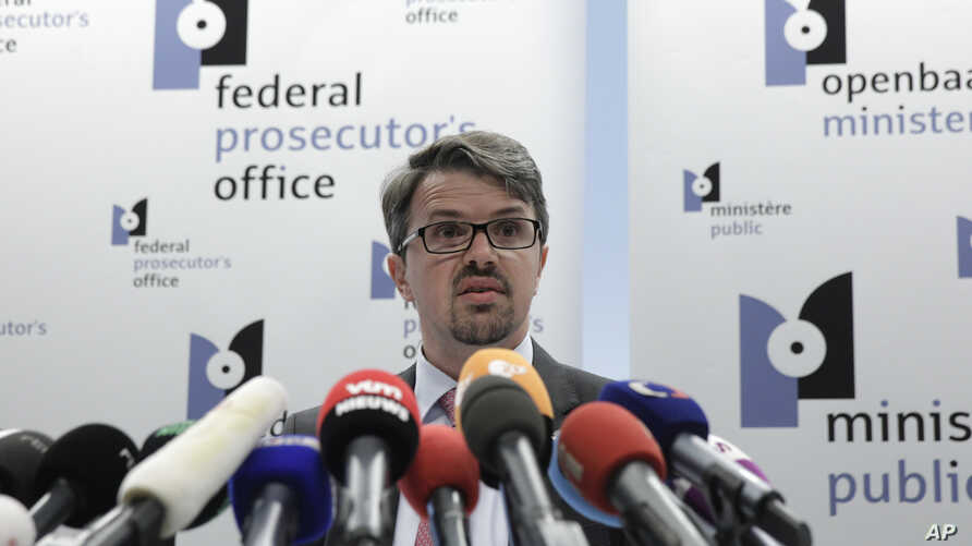 Belgian federal prosecutor Frederic Van Leeuw discusses the arrest of a suspect in the killings at a Belgian Jewish museum at the Federal Prosecutor's office in Brussels, June 1, 2014.