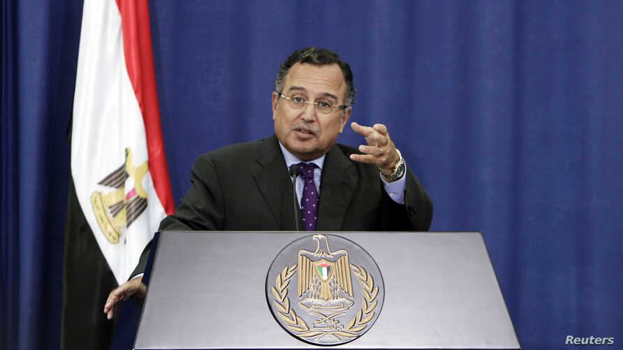 File - Egypt's Foreign Minister Nabil Fahmy speaks during a news conference in the West Bank city of Ramallah. Egypt's Foreign Minister Nabil Fahmy speaks during a joint news  conference with Palestinian Foreign Minister Riyad al-Maliki (not pictured