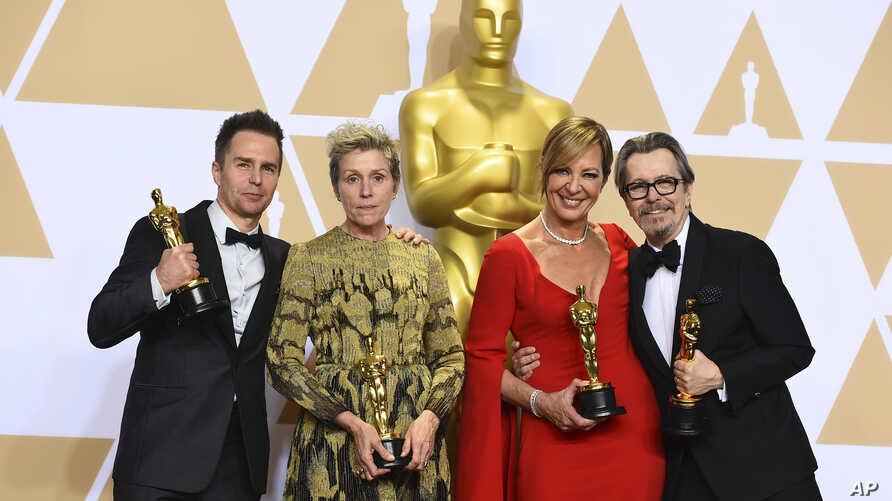"""Sam Rockwell, from left, winner of the award for best performance by an actor in a supporting role for """"Three Billboards Outside Ebbing, Missouri"""", Frances McDormand, winner of the award for best performance by an actress in a leading role for """"Three"""