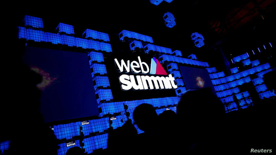 FILE - The center stage at Web Summit, Europe's biggest tech conference, in Lisbon, Portugal, Nov. 5, 2018.