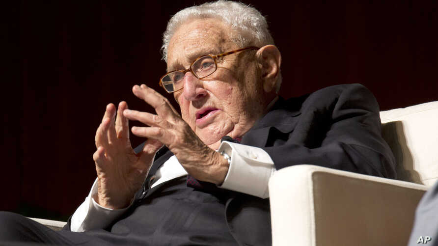 Former Secretary of State and former National Security Advisor Henry Kissinger speaks at the Vietnam War Summit at the LBJ Presidential Library in Austin, Texas, Tuesday, April 26, 2016.