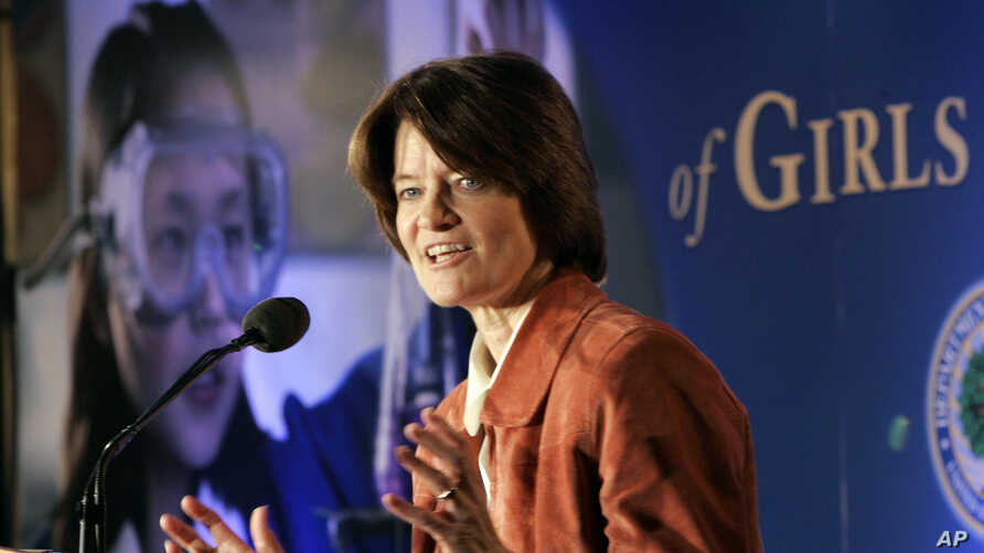 Former Astronaut Sally Ride speaks at the First National Summit on the Advancement of Girls in Math and Science in Washington Monday, May 15, 2006.