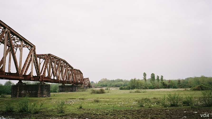 Former railway bridge over the Enguri River, the natural border between Georgia and occupied Abkhazia