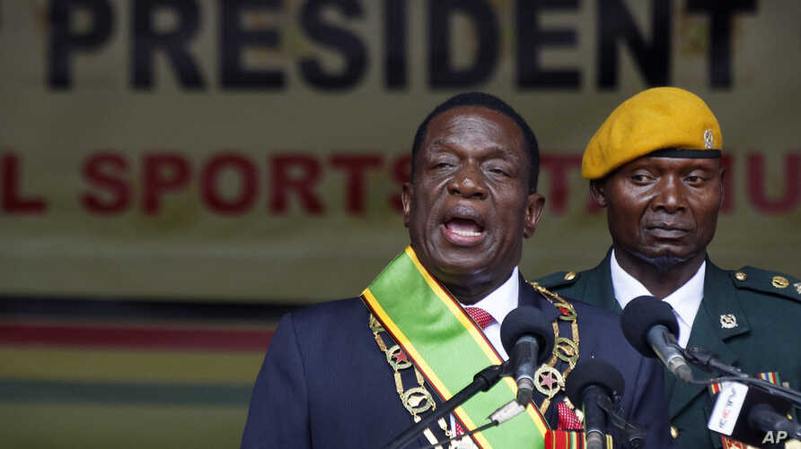 Zimbabwe's President Emmerson Mnangagwa speaks after being sworn in at the presidential inauguration ceremony in the capital Harare, Zimbabwe, Nov. 24, 2017.