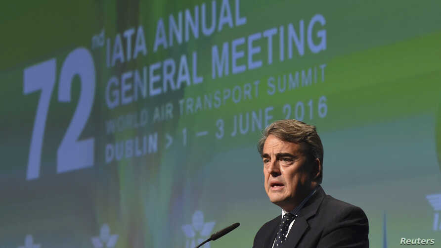 Alexandre de Juniac, CEO of Air France-KLM speaks after he is appointed as the new Director General of IATA at the 2016 International Air Transport Association (IATA) Annual General Meeting (AGM) and World Air Transport Summit in Dublin, Ireland June