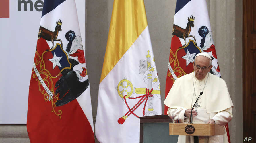 Pope Francis delivers a speech during a meeting with government authorities, members of civil society and the diplomatic corps, at La Moneda presidential palace in Santiago, Chile, Jan. 16, 2018.