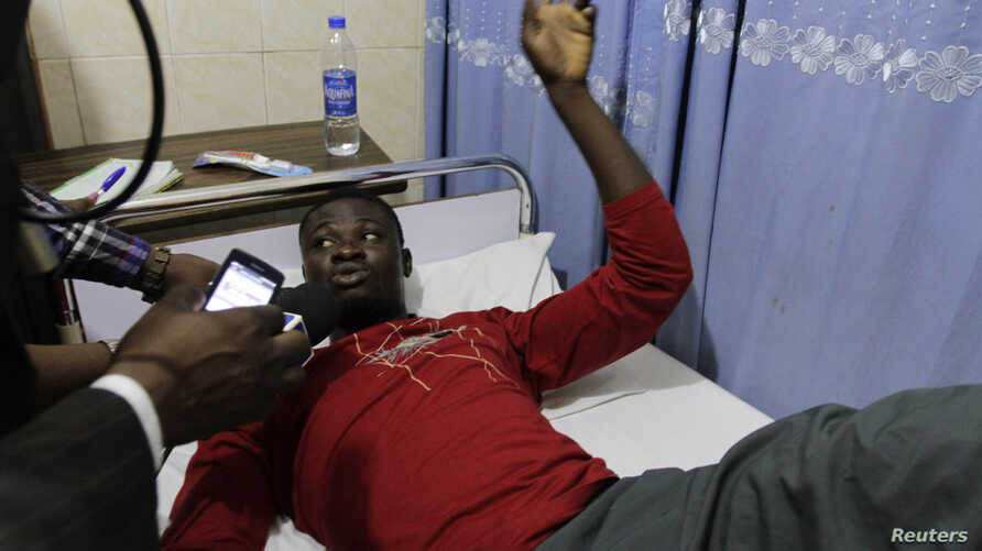 Kive Sani, a survivor on the boat that capsized off the coast, speaks about his ordeal at the Bakor Medical Centre in Calabar, March 20, 2013.