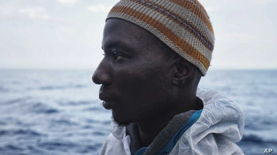 Laye Donzo from Liberia on the Aquarius vessel after being rescued on the Mediterranean Sea, June 25, 2016.