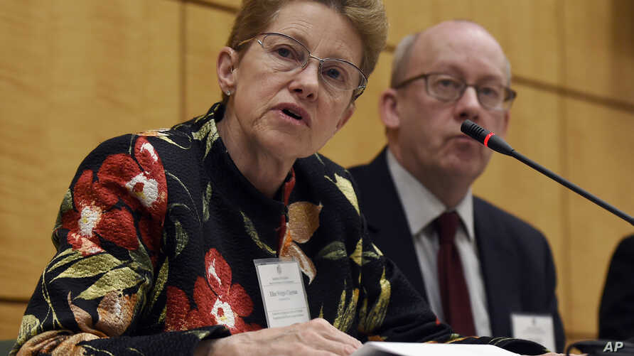 FILE - Dr. Ellen Wright Clayton, chair of the Committee on Diagnostic Criteria for Myalgic Encephalomyelitis/Chronic Fatigue Syndrome (l)  during an open meeting at the Institute of Medicine in Washington, Feb. 10, 2015.