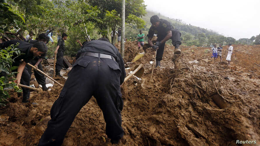 Rescue workers conduct a search at the site of a landslide at the Koslanda tea plantation near Haldummulla, October 30, 2014.