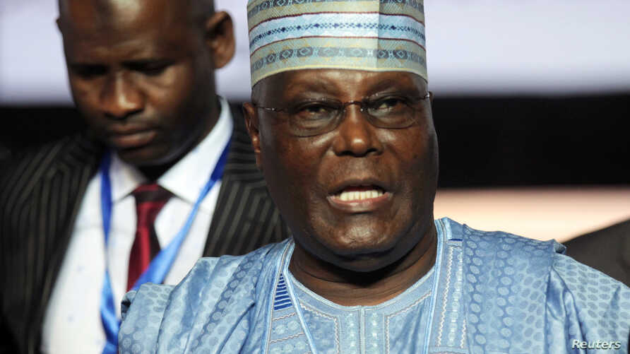 FILE - Atiku Abubakar, a former vice president, attends the national convention of Nigeria's opposition People's Democratic Party, in the southern city of Port Harcourt in the Niger Delta, Nigeria, Oct. 6, 2018.