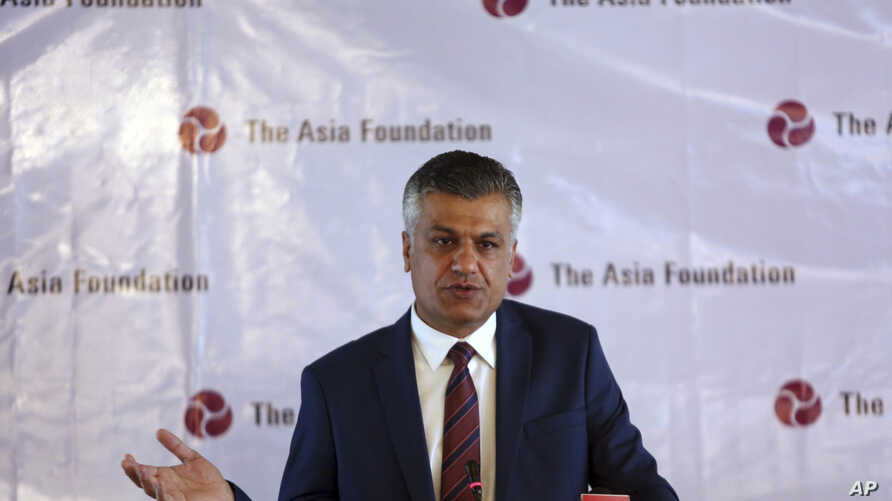 Abdullah Ahmadzai, the Asia Foundation's representative in Afghanistan, speaks during launch of the Afghan people in 2016 Survey, conducted by the Asia Foundation, in Kabul, Afghanistan, Dec. 7, 2016.
