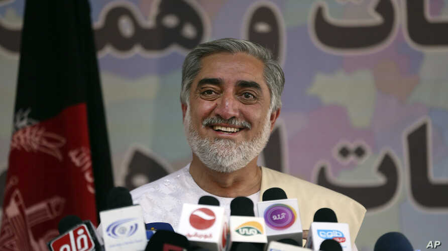 Afghan presidential candidate Abdullah Abdullah speaks during a news conference in Kabul, Afghanistan, Wednesday, May 14, 2014.