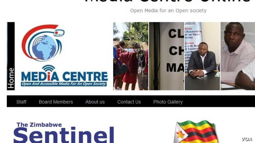 A two-screentshot combo of the Zimbabwe Media Center and Zimbabwe Sentinel newspaper online Websites, April 11, 2016.