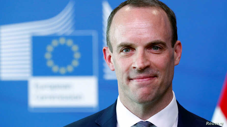 Britain's Secretary of State for Exiting the European Union, Dominic Raab in Brussels, Belgium, July 19, 2018.