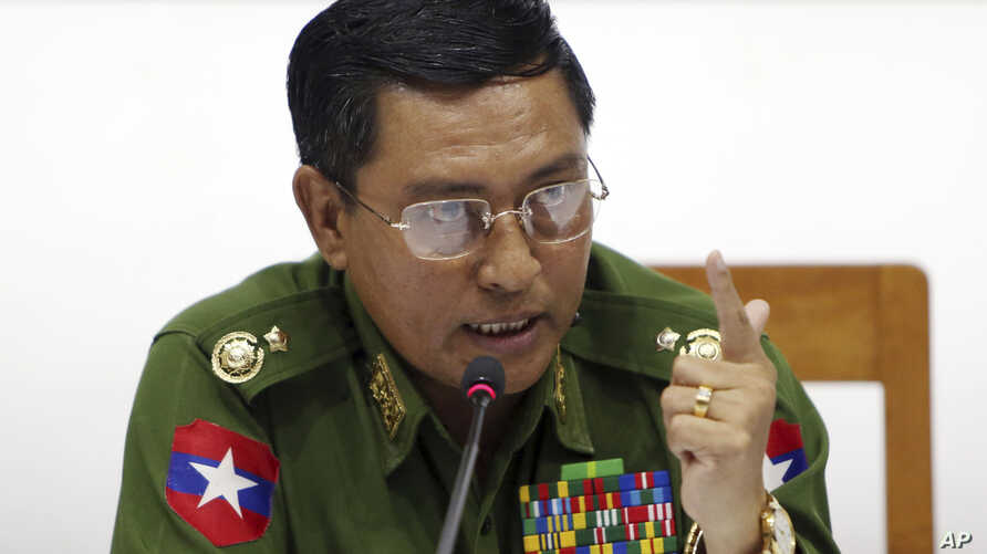 Maj. Gen. Soe Naing Oo, chairman of the Myanmar's military information committee, talks to journalists during a press conference at the Military Museum in Naypyitaw, Myanmar, Jan. 18, 2019.