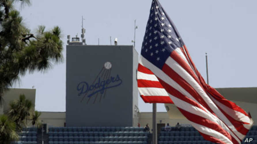Dodger Stadium, home of the Los Angeles Dodgers.  The Dodgers filed for bankruptcy protection in a Delaware court blaming Major League Baseball for refusing to approve a multibillion-dollar TV deal that owner Frank McCourt was counting on to keep the