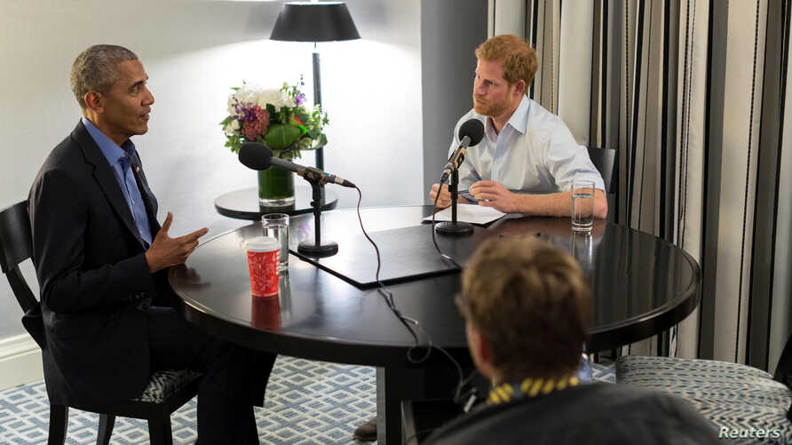 Britain's Prince Harry interviews former U.S. President Barack Obama as part of his guest editorship of BBC Radio 4's Today programme which is to be broadcast on Dec. 27, 2017. (Obama Foundation/BBC/Handout via REUTERS)