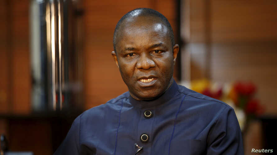 Oil Minister Emmanuel Ibe Kachikwu, shown during an interview February 12, 2016, says Nigeria's oil output has risen to 2.1million barrels a day.