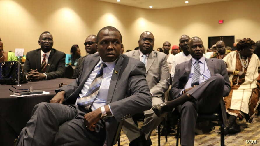 David Mayen Dengdit, the now-resigned press secretary for South Sudan's Vice President James Wani Igga, is seen in the front in this updated photo. (Photo courtesy of David Mayen Dengdit)