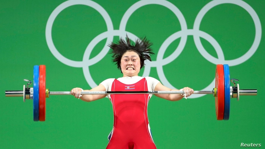 2016 Rio Olympics - Weightlifting - Final - Women's 63kg - Riocentro - Pavilion 2 - Rio de Janeiro, Brazil - 09/08/2016. Choe Hyo Sim (PRK) of North Korea competes.