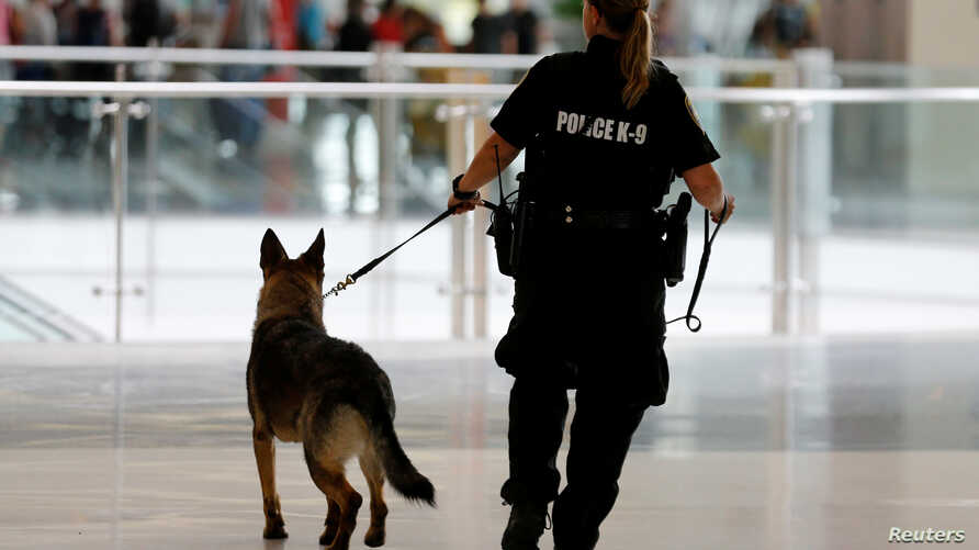 FILE - A San Diego Harbor Police K-9 officer patrols Lindbergh Field airport in San Diego, California, U.S. July 1, 2016.