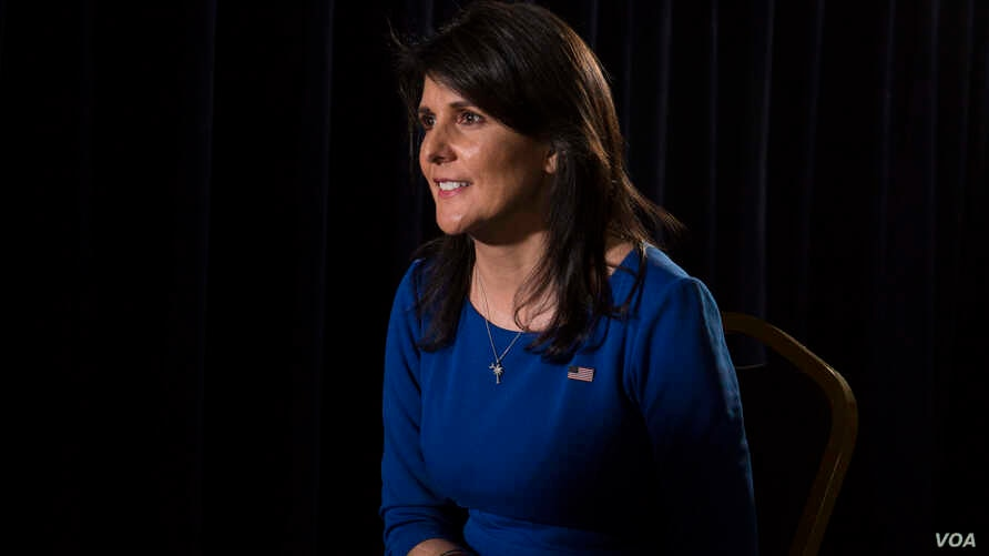 U.S. Ambassador to the United Nations Nikki Haley is interviewed by VOA contributor Greta Van Susteren (not pictured) in New York, Jan. 17, 2018. (R. Taylor/VOA)