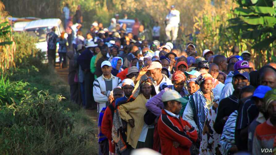 """The line grows longer outside the Mutomo Primary School as crowds prepare to cast their ballots, Gatundu, Kenya, March 4, 2013."""" (J. Craig/VOA)"""