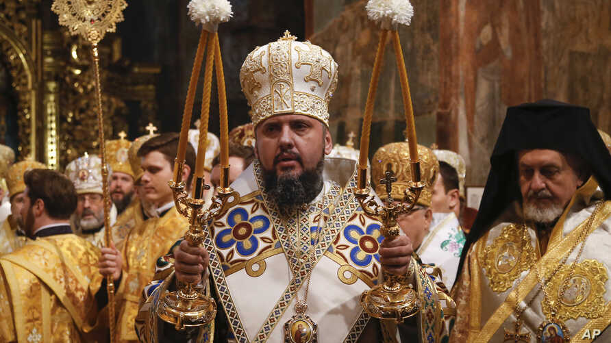 Metropolitan Epiphanius, newly elected head of the Orthodox Church of Ukraine, Metropolitan of Kyiv and All Ukraine, conducts a service during his enthronement in the St. Sophia Cathedral in Kyiv, Ukraine, Feb. 3, 2019.