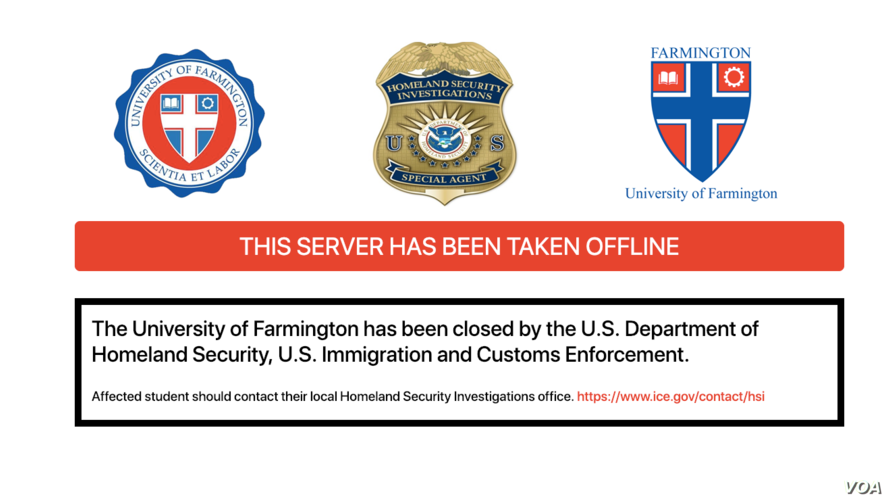 This screenshot from the University of Farmington shows that the website has been closed down.