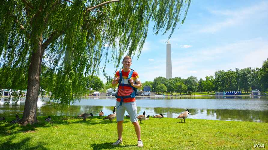 Mikah Meyer at Constitution Gardens, a park area in DC, May 20, 2016.