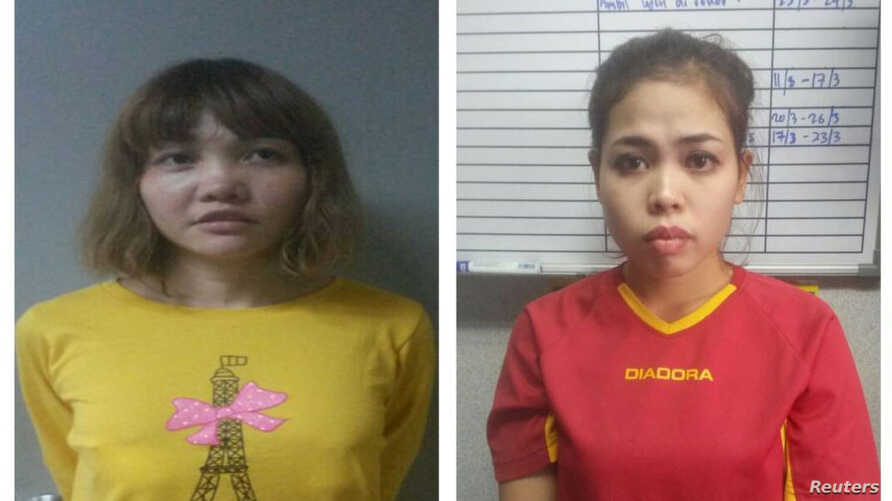 Suspects Doan Thi Huong (left), and Siti Aisyah (right) were arrested in Malaysia in connection with the murder of Kim Jong Nam.