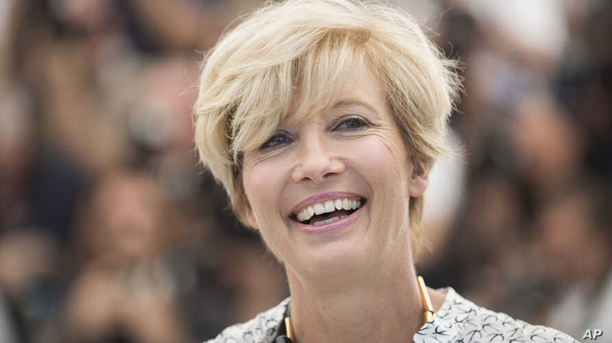 FILE - Emma Thompson poses for photographers for the film The Meyerowitz Stories at the 70th international film festival, Cannes, southern France, May 21, 2017. British actors Emma Thompson, Keira Knightley and Tom Hardy and Nobel Prizewinning author