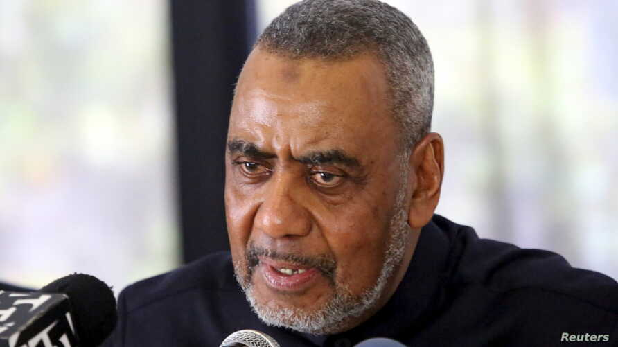 FILE - The opposition Civic United Front (CUF), Zanzibar's Second Vice-President Seif Sharif Hamad speaks during a news conference in Dar es Salaam in Tanzania, January 11, 2016.