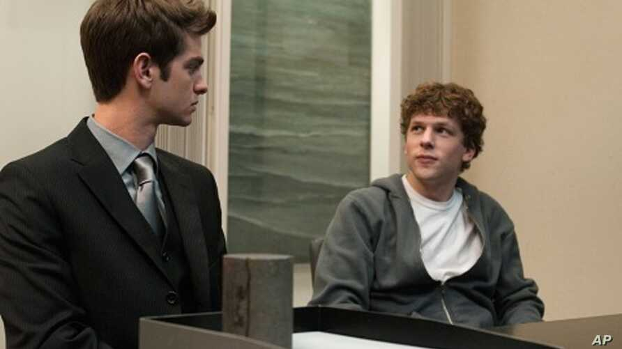 """Andrew Garfield, left, and Jesse Eisenberg in Columbia Pictures' """"The Social Network."""""""