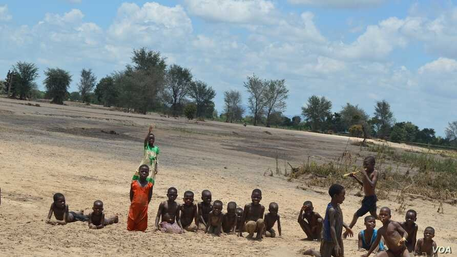 Once a maize field, the area has now turned into a play area for children in Malawi southern district of Phalombe. (Lameck Masina for VOA News)