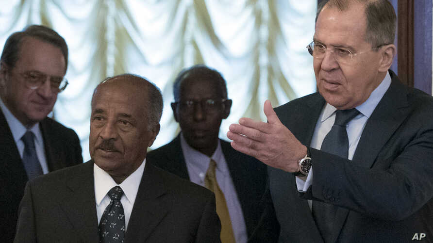 FILE - Russian Foreign Minister Sergey Lavrov, right, welcomes Eritrea's Foreign Minister Osman Saleh Mohammed, second from left, prior a meeting in Moscow, Russia, Monday, Jan. 30, 2017.