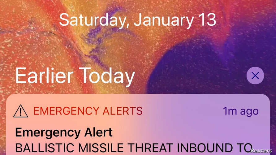 A screen capture from a Twitter account shows a missile warning for Hawaii, Jan. 13, 2018, in this picture obtained from social media.