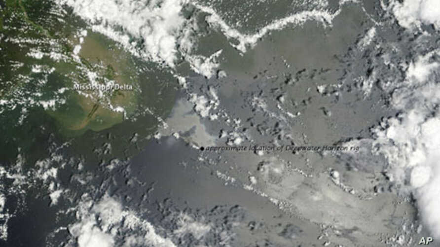 Oil from the damaged Deepwater Horizon oil well lingers off the Mississippi Delta, 04 Jul 2010