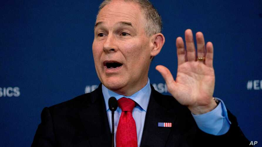 FILE - Environmental Protection Agency Administrator Scott Pruitt speaks at a news conference at EPA headquarters, in Washington, April 3, 2018.