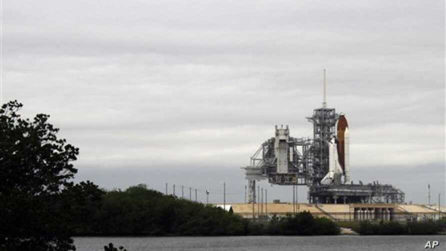 Space Shuttle Endeavour sits on Launch Pad 39-A during fueling at Kennedy Space Center in Cape Canaveral, Florida, April 29, 2011