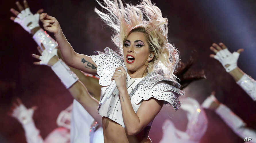 FILE - Lady Gaga performs during the halftime show of the NFL Super Bowl 51 in Houston, Feb. 5, 2017.