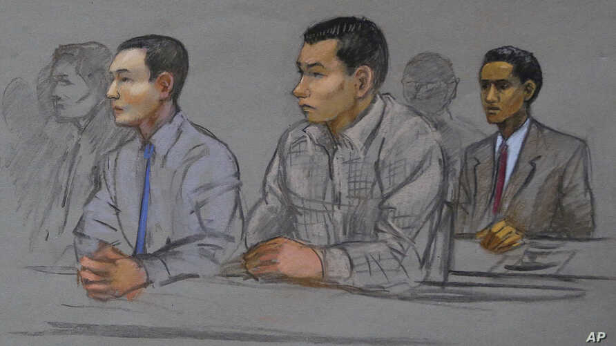 This courtroom sketch shows defendants Azamat Tazhayakov, left, Dias Kadyrbayev, center, and Robel Phillipos, right, college friends of Boston Marathon bombing suspect Dzhokhar Tsarnaev, during a hearing in federal court, May 13, 2014, in Boston.