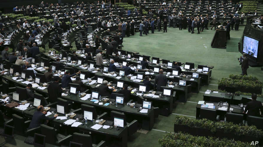 "A general view of the Iranian parliament after lawmakers voted to join Iran to ""Combating the Financing of Terrorism,"" or CFT, in Tehran, Oct. 7, 2018."