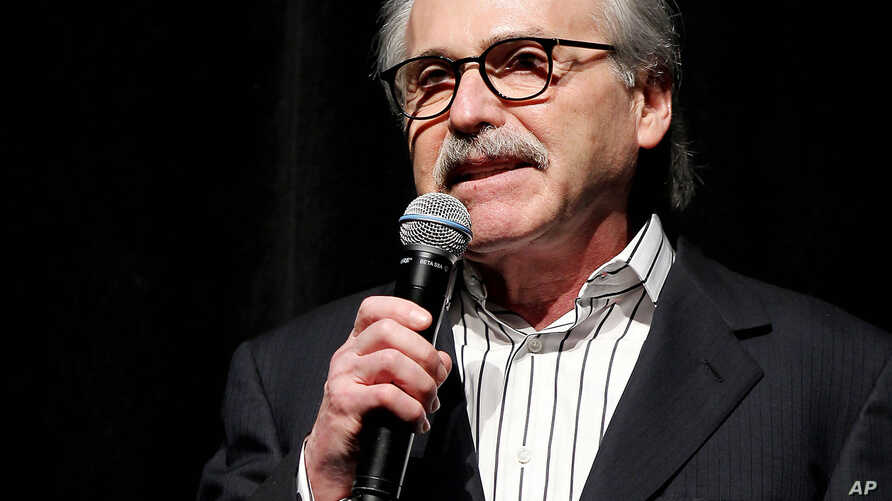 In this Jan. 31, 2014 photo, David Pecker, Chairman and CEO of American Media, addresses those attending a  Super Bowl party in New York.